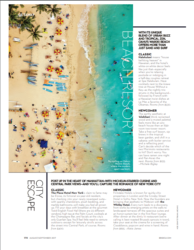 Brides.com-Getaway-Magazine  article press clipping August 2017 - Beachresort, newcomer 'Alohilani Resort