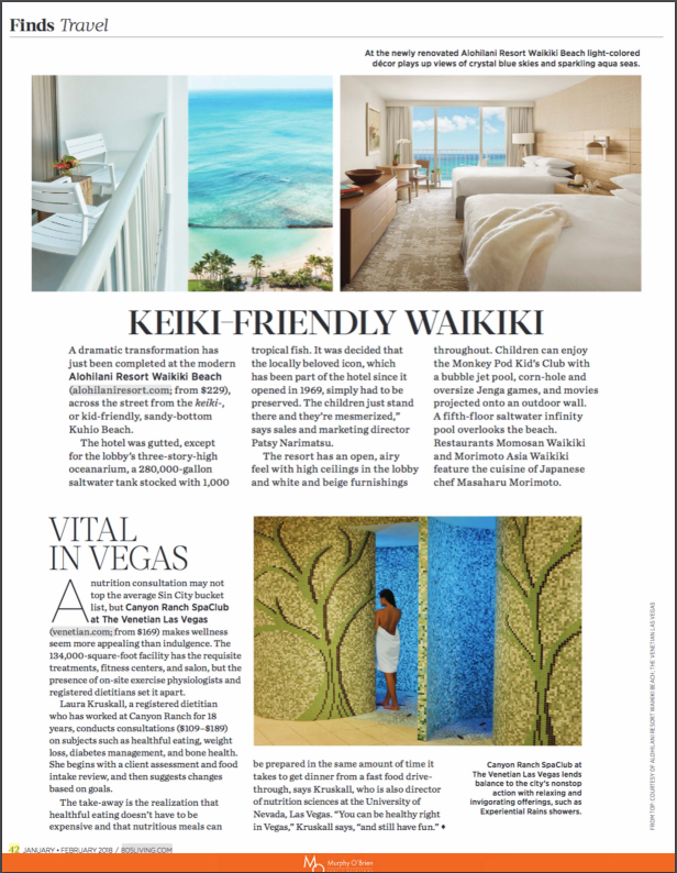 "805 Living Magazine Jan/Feb 2018 press clipping of article ""Keiki-friendly Waikiki"""