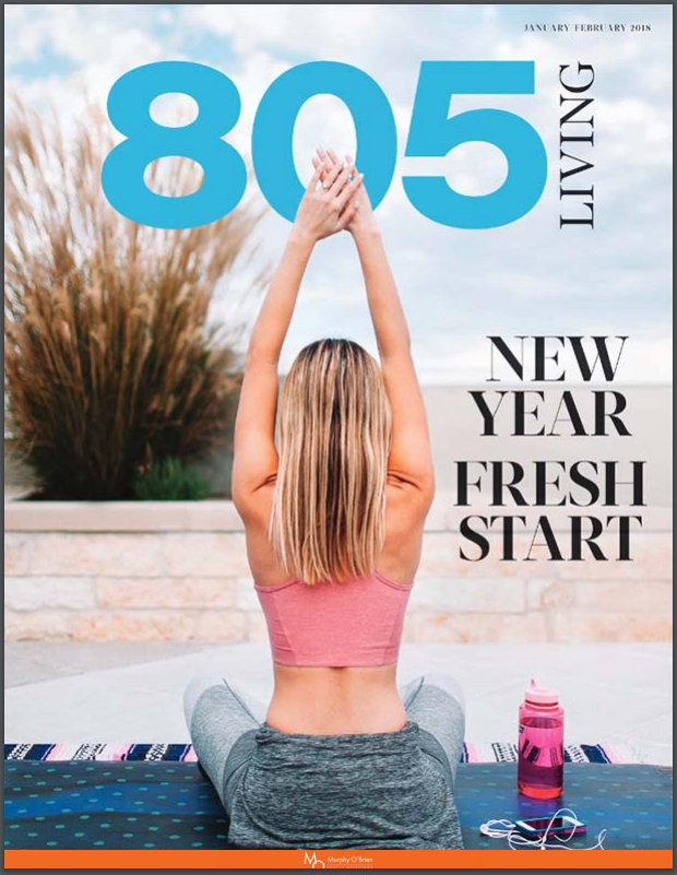 805 Living Magazine Jan/Feb 2018 press clipping of magazine cover with female sitting down stretching outdoors.  Title Near Fresh Start
