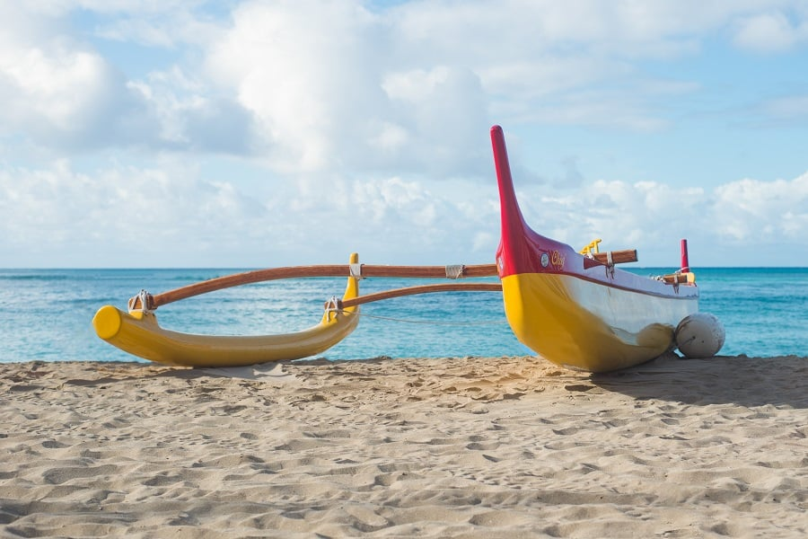 Outrigger canoe on Waikiki Beach