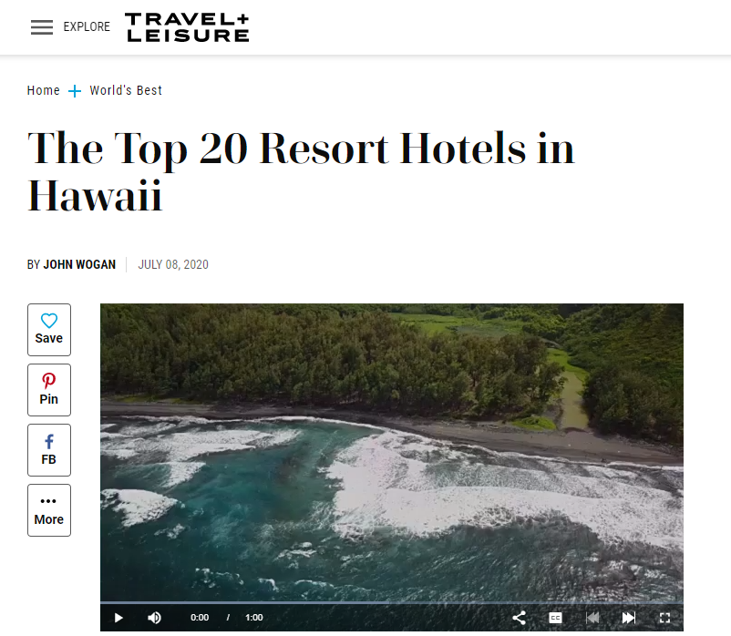 Snapshot of Travel + Leisure Top 20 Resort Hotels in Hawaii, image of ocean