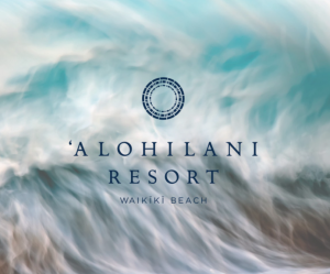 'Alohilani Story Cover with logo and wave background