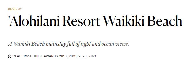 Title Text 'Alohilani Resort Waikiki Beach, Readers' Choice Awards 2018, 2019, 2020, 2021