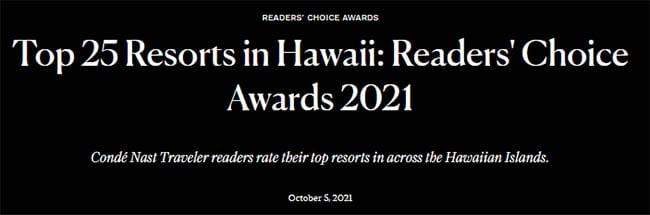 Title Text Top 25 Resorts in Hawaii: Readers' Choice Awards 2021