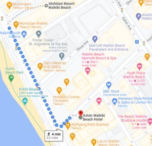 Google Map of Alohilani Resort to Aston Waikiki Beach Hotel